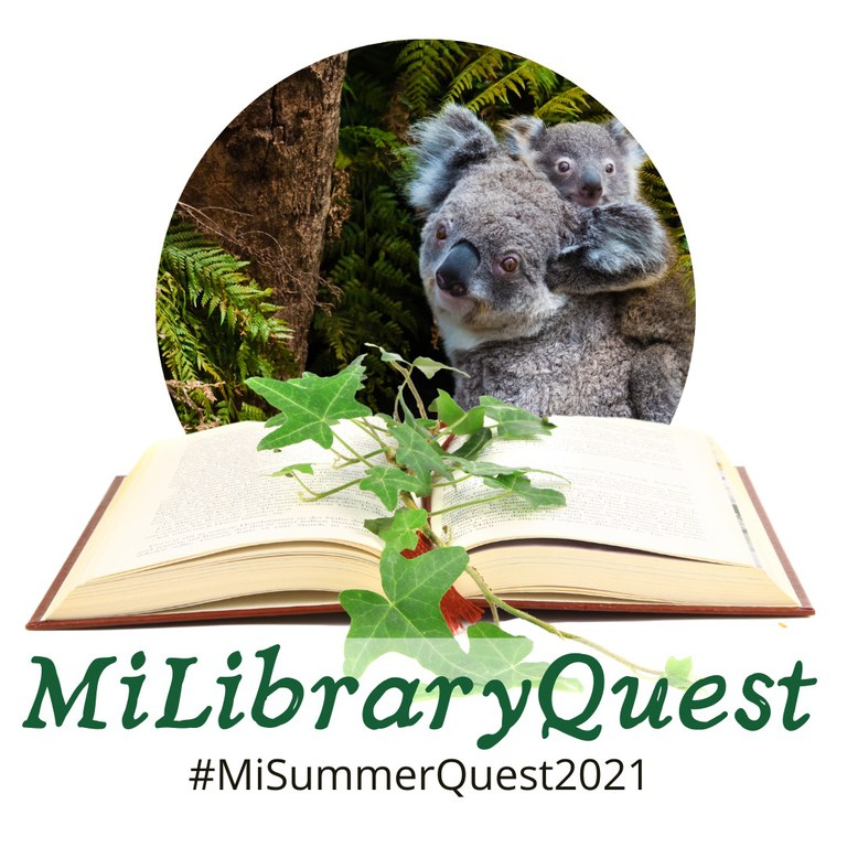 """""""MiLibraryQuest logo with koalas, an open book, and the text #MiLibraryQuest2021"""